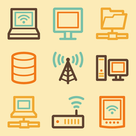 Network web icons set in retro style  Vector