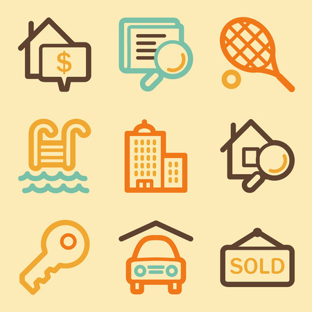 real tennis: Real estate web icons set in retro style