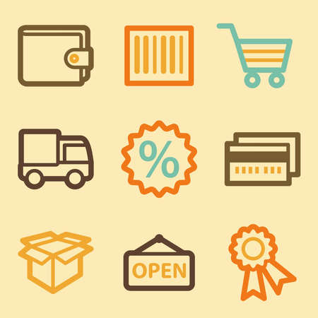 Shopping web icons set in retro style  Vector
