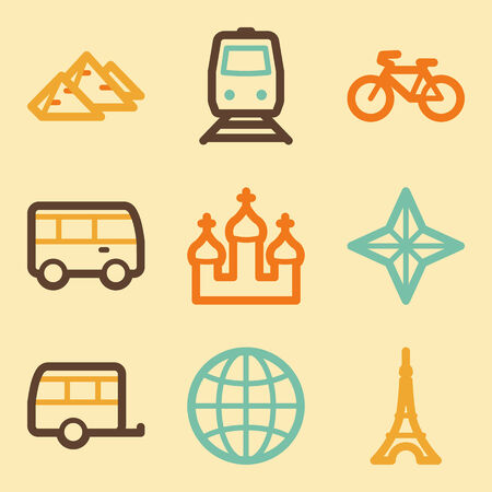 Travel web icons set in retro style  Vector
