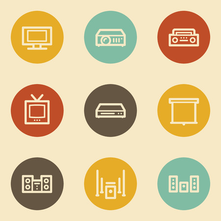 Audio video web icons, retro circle buttons Vector