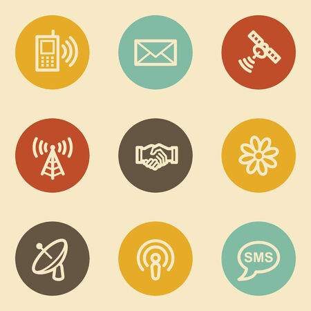 Communication web icons, retro circle buttons Vector
