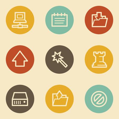 Data web icons, retro circle buttons Vector