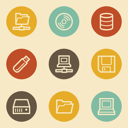 Drives and storage web icons, retro circle buttons