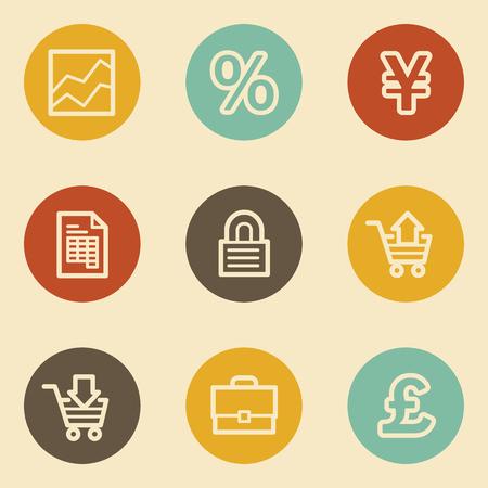 E-business web icons, retro circle buttons Vector