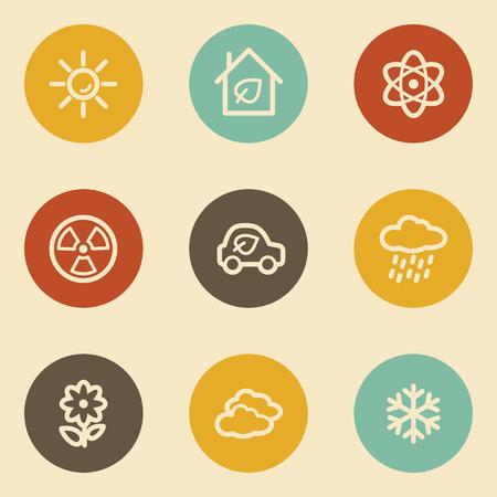 Ecology web icon set 2, retro circle buttons Vector