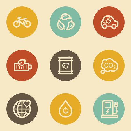 Ecology web icon set 4, retro circle buttons