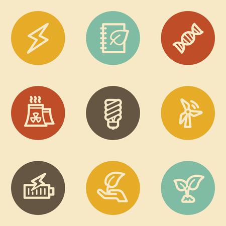 Ecology web icon set 5, retro circle buttons Vector