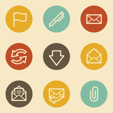 E-mail web icons, retro circle buttons Vector