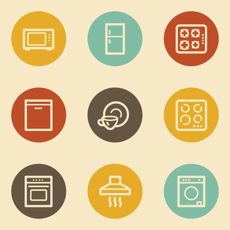 Home appliances web icons, retro circle buttons Vector