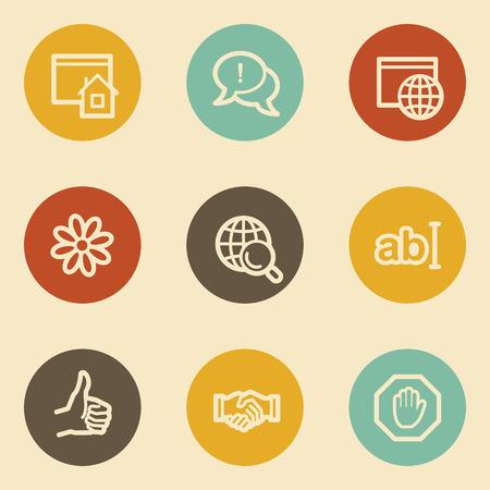 icq: Internet web icon set 1, retro circle buttons