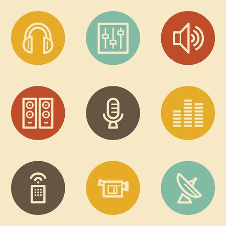 Media web icons , retro circle buttons Vector