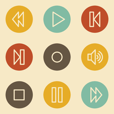 pause button: Media player web icons , retro circle buttons