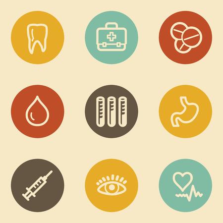 Medicine web icon set 1, retro circle buttons Vector