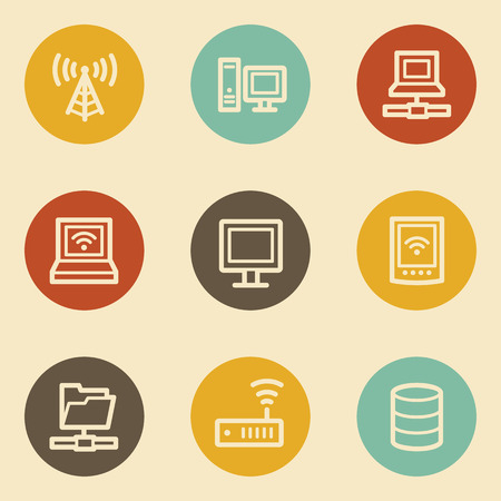 access point: Network web icons , retro circle buttons