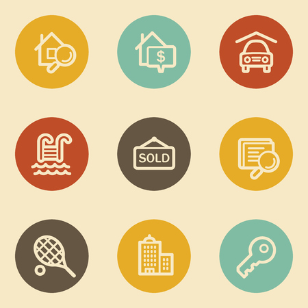 Real estate web icons , retro circle buttons Vector