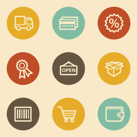 billfold: Shopping web icon set 2, retro circle buttons Illustration