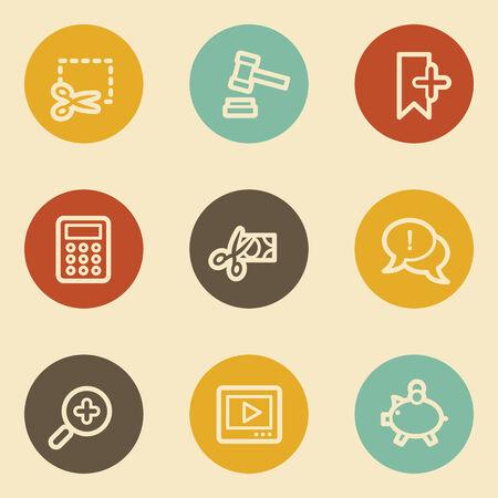 Shopping web icon set 3, retro circle buttons Vector