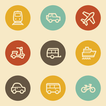 Transport web icons, retro circle buttons Vector