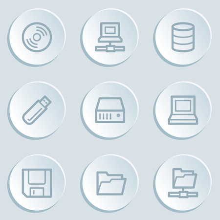 Drives and storage web icons, white sticker buttons