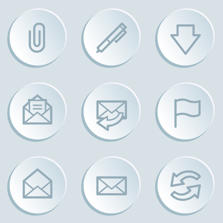 E-mail web icons, white sticker buttons Vector