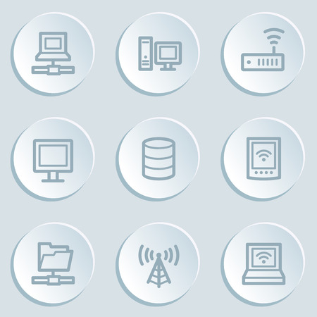 nettop: Network web icons, white sticker buttons
