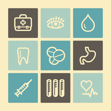injecting: Medicine web icons, buttons set