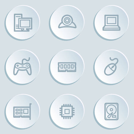 nettop: Computer web icons, white sticker buttons