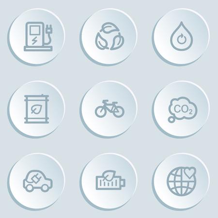 electro world: Ecology web icon set 4, white sticker buttons