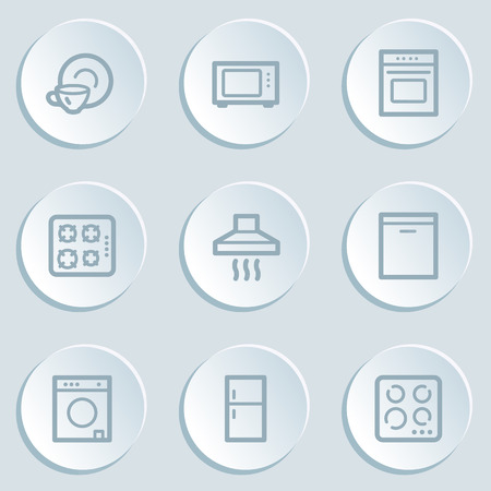 gas laundry: Home appliances web icons, white sticker buttons