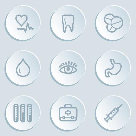 Medicine web icon set 1 , white sticker buttons Vector