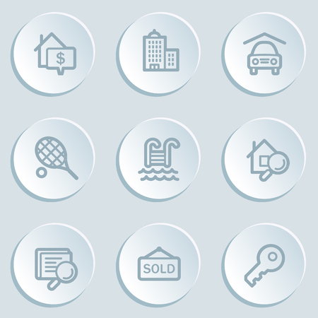 Real estate web icons, white sticker buttons Vector