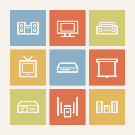 Audio video web icons, color square buttons Vector