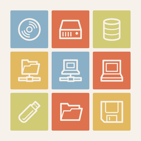 Drives and storage web icons, color square buttons Illustration