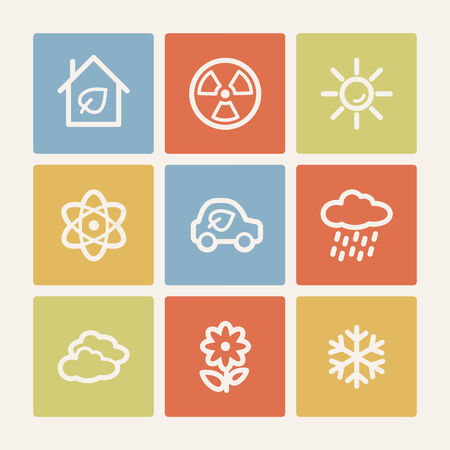 Ecology web icon set 2, color square buttons Vector