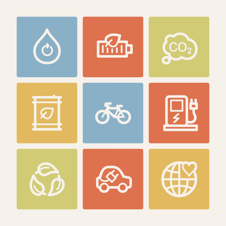 electro world: Ecology web icon set 4, color square buttons Illustration