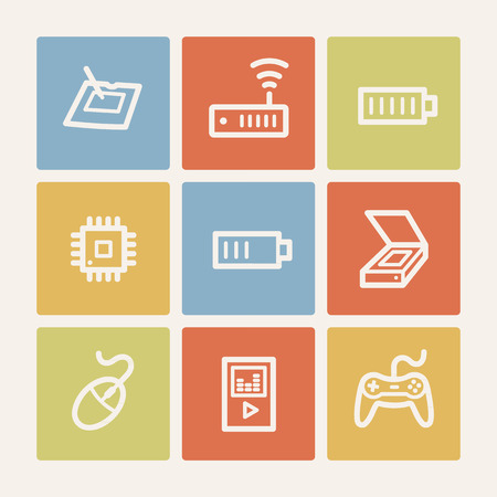 Electronics web icon set 2, color square buttons Vector