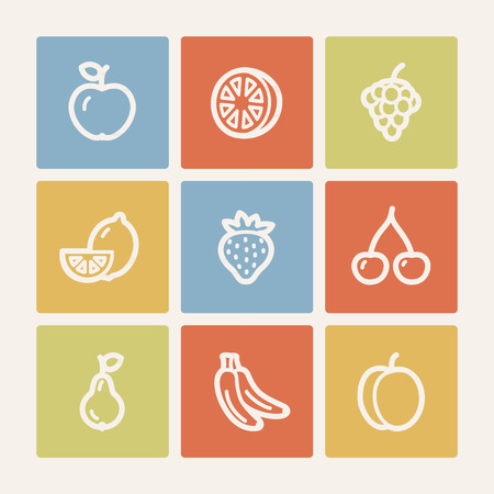 Fruits web icons, color square buttons Illustration
