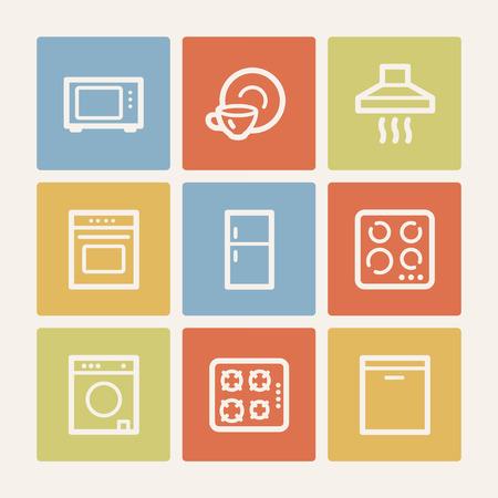 Home appliances web icons, color square buttons Vector