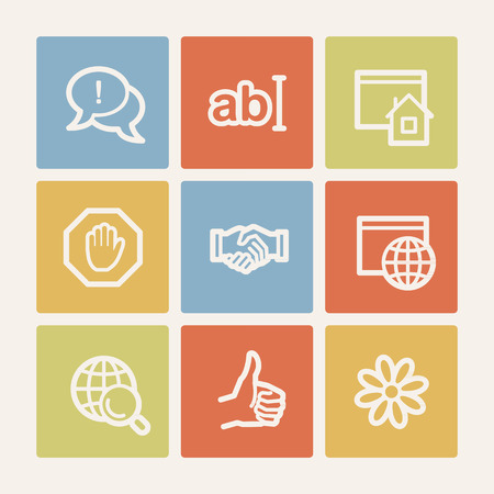 Internet web icon set 1, color square buttons Vector