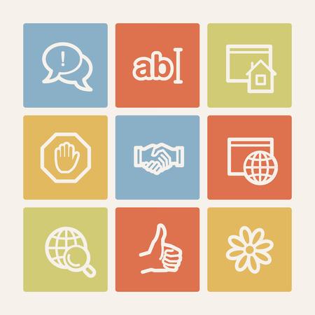icq: Internet web icon set 1, color square buttons Illustration