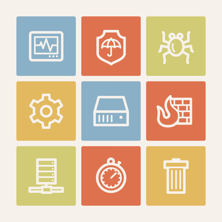Internet security web icons , color square buttons Vector