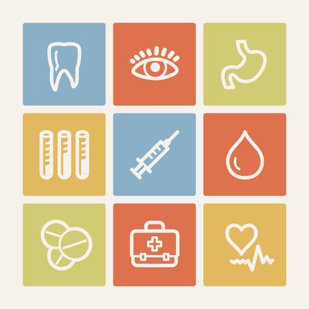 Medicine web icon set 1, color square buttons Vector
