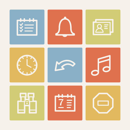Organizer web icons, color square buttons Vector