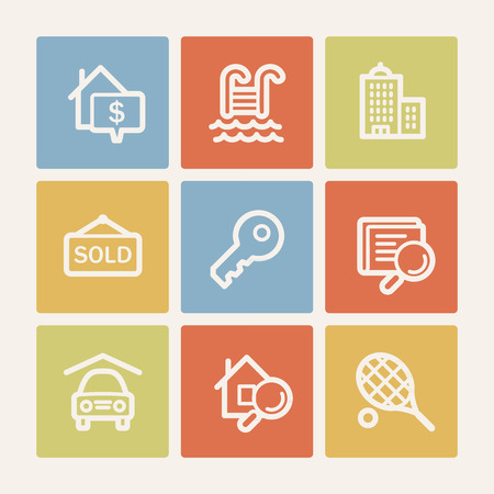 swimming pool home: Real estate web icons, color square buttons