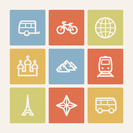 Travel web icon set 2, color square buttons Vector