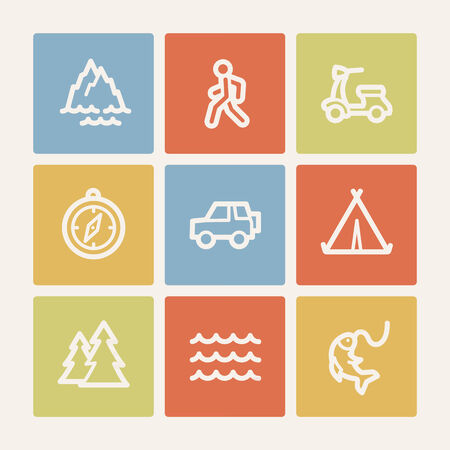 Travel web icon set 3, color square buttons Vector