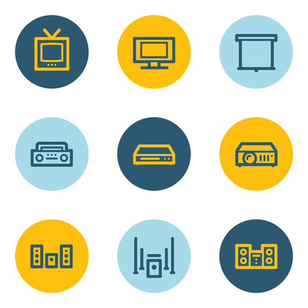 Audio video web icons, blue and yellow circle buttons