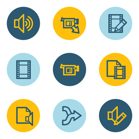 audio video: Audio video edit web icons, blue and yellow circle buttons