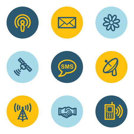 access point: Communication web icons, blue and yellow circle buttons